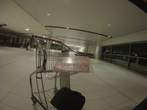 Lone sign in baggage area