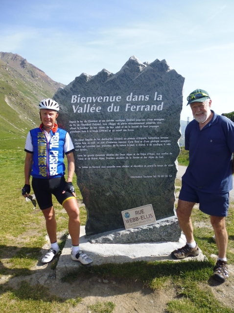 Pat and Garry standing at the Col de Sarenne refuge point.  This mountain pass is approximately 9km east of Alpe d'Huez