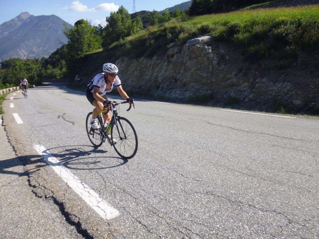 Garry Buys Climbing up Col de Vars